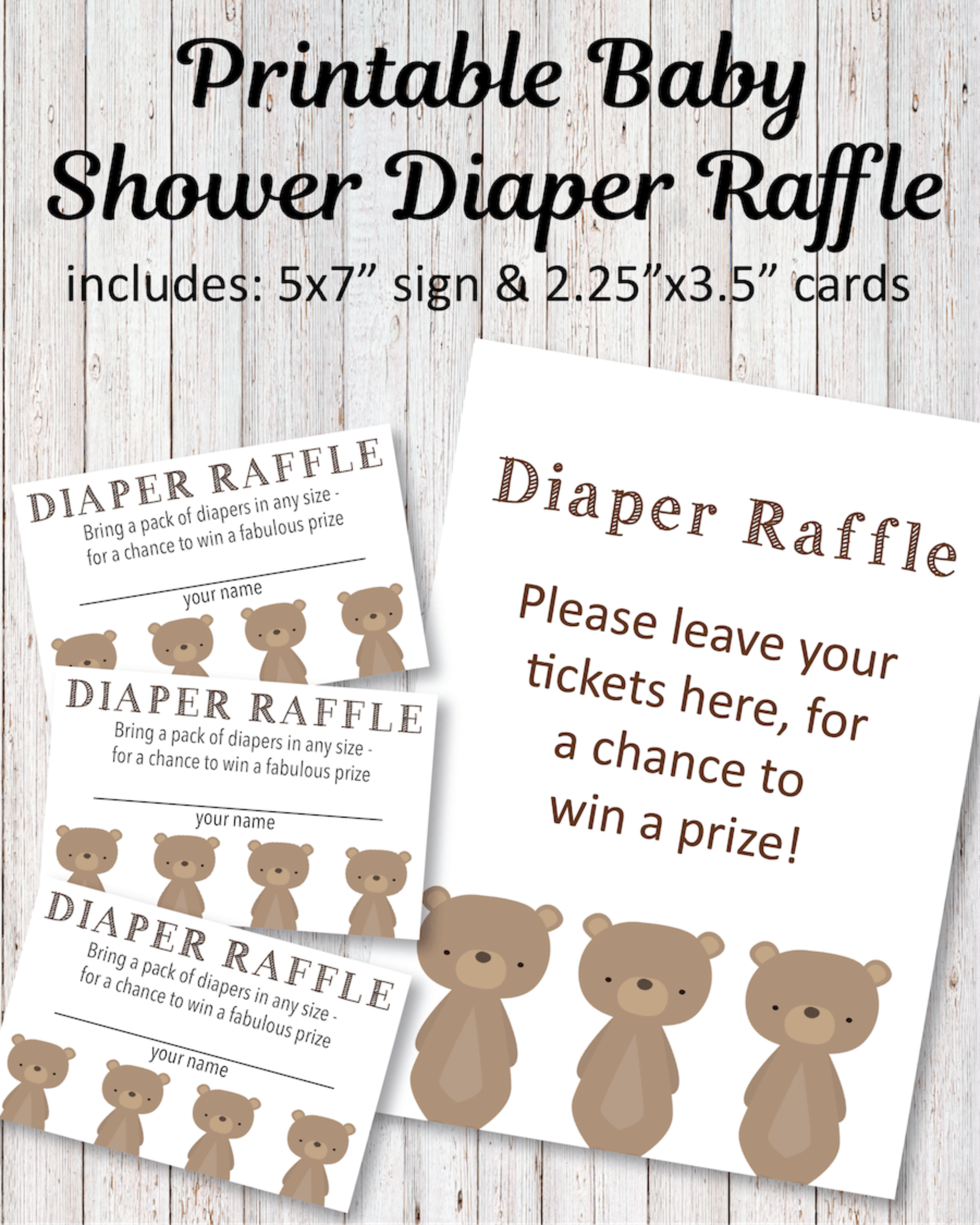 Printable Baby Shower Diaper Raffle Tickets - Woodland Bear Theme