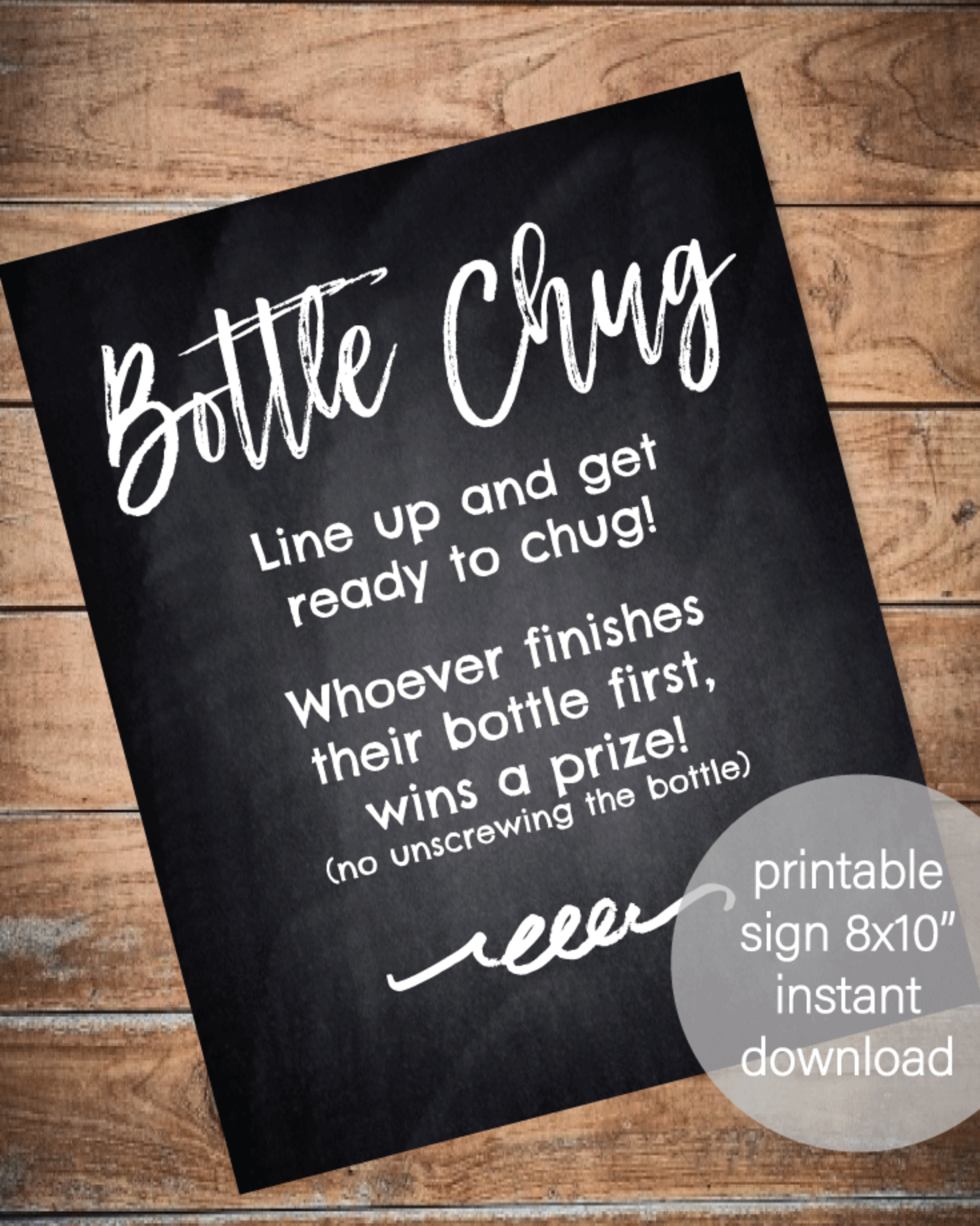 Printable Baby Bottle Chug Game - Chalkboard Background