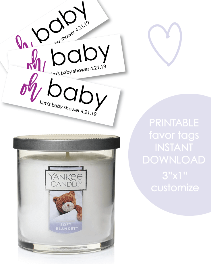 "Printable 3x1"" Oh Baby Purple Baby Shower Favor Tags - Customize"