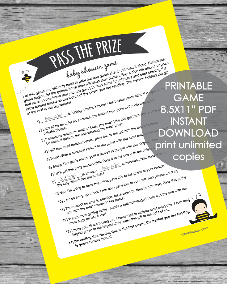Printable Yellow Pass The Prize Baby Shower Game - Baby Bee Theme