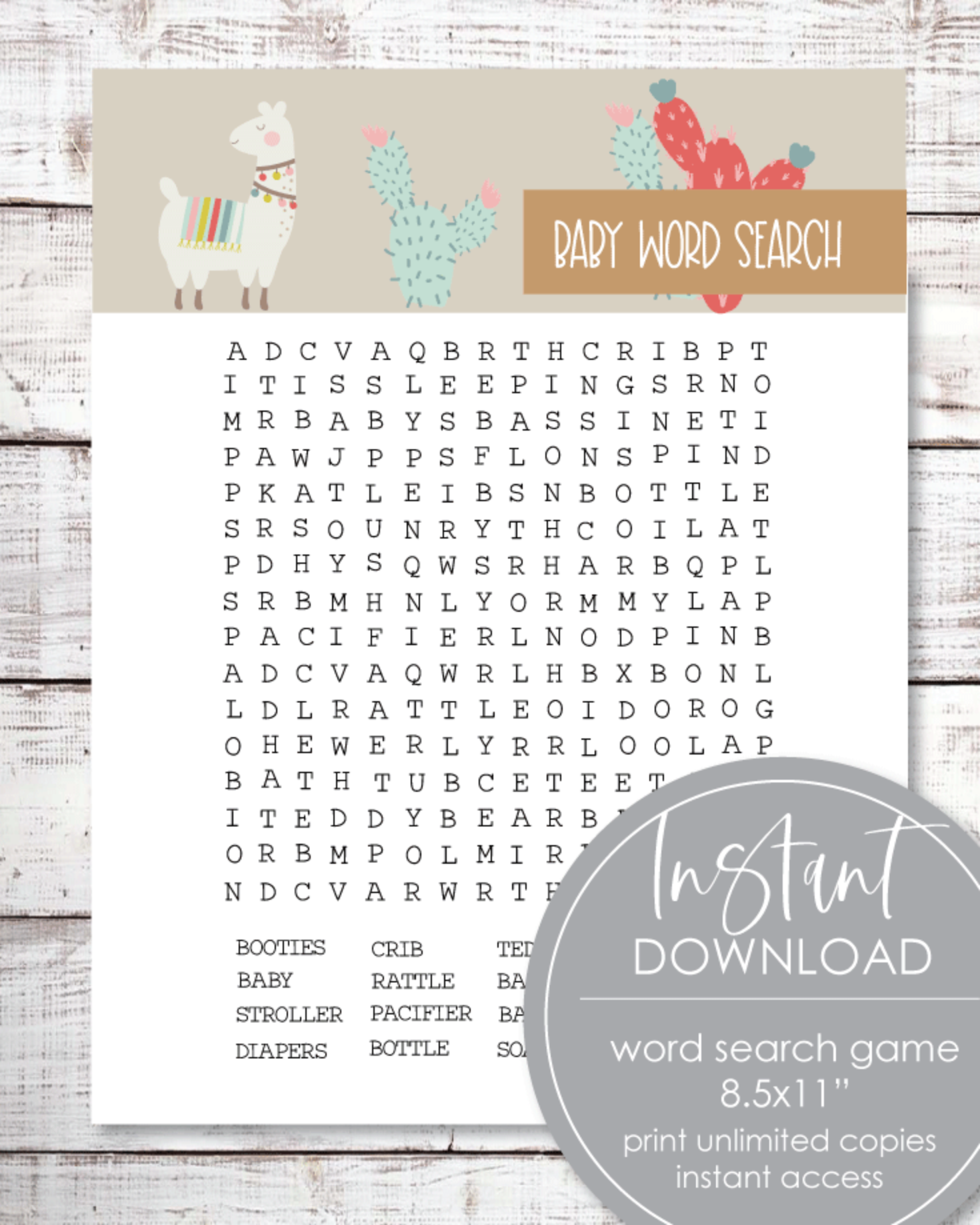 Printable Llama Word Search Game