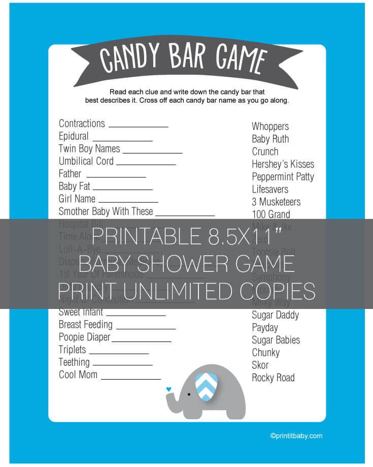 Baby Shower Candy Bar Game - Blue Elephant Jungle Theme