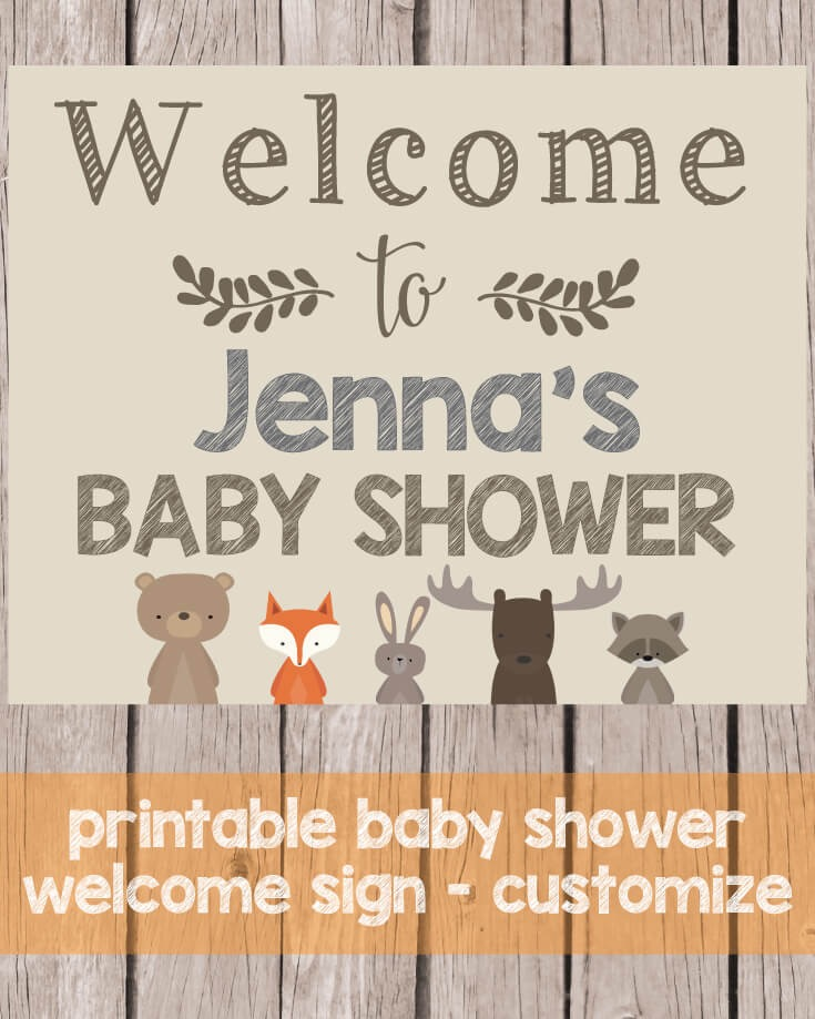 Printable Woodland Animals Welcome Baby Shower Sign - Customize