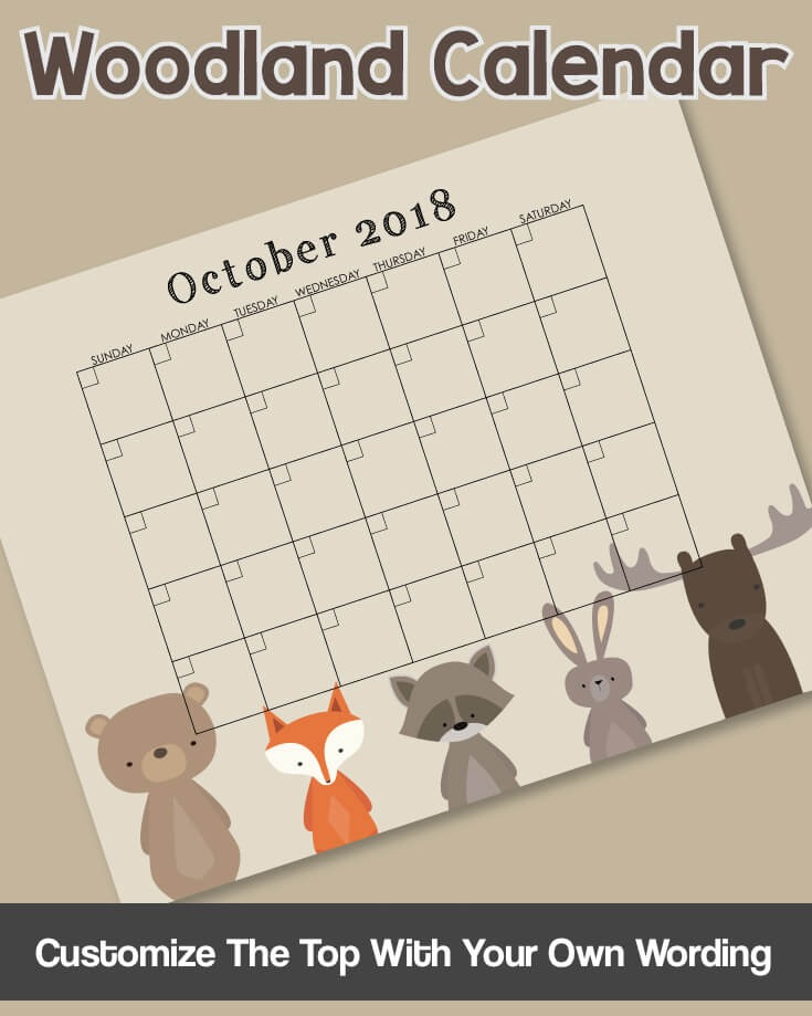 Woodland Animals Printable Guess Baby's Due Date Baby Shower Game - Woodland Calendar