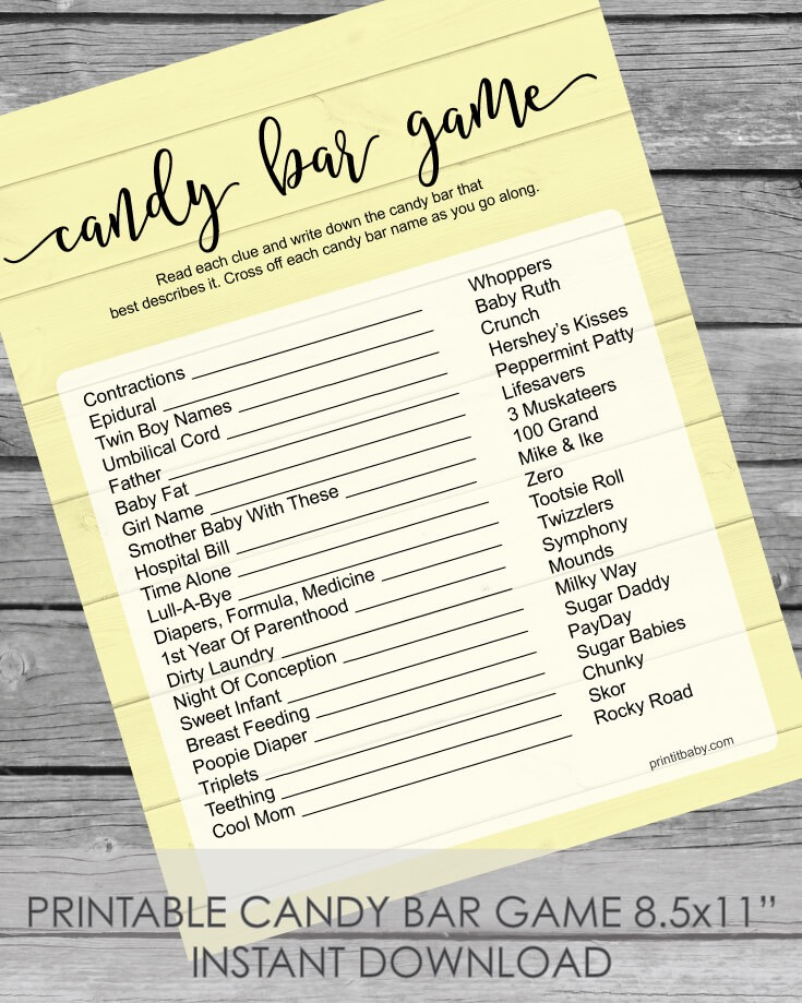 Printable Baby Shower Candy Bar Game - Yellow Shiplap