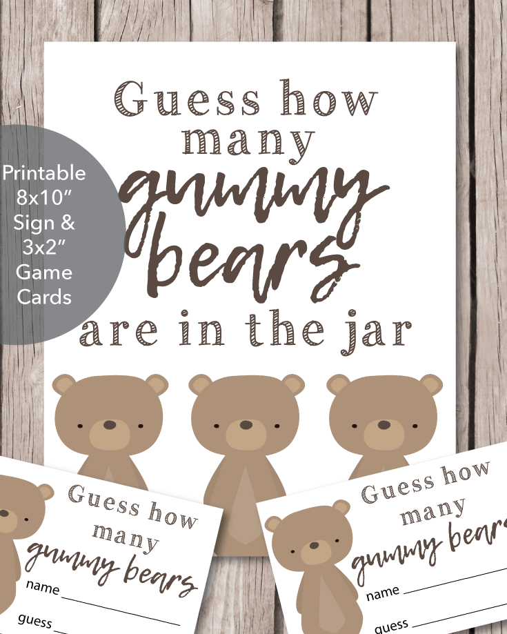 Printable Baby Shower Gummy Bear Guessing Game - Woodland Animals Bear Theme