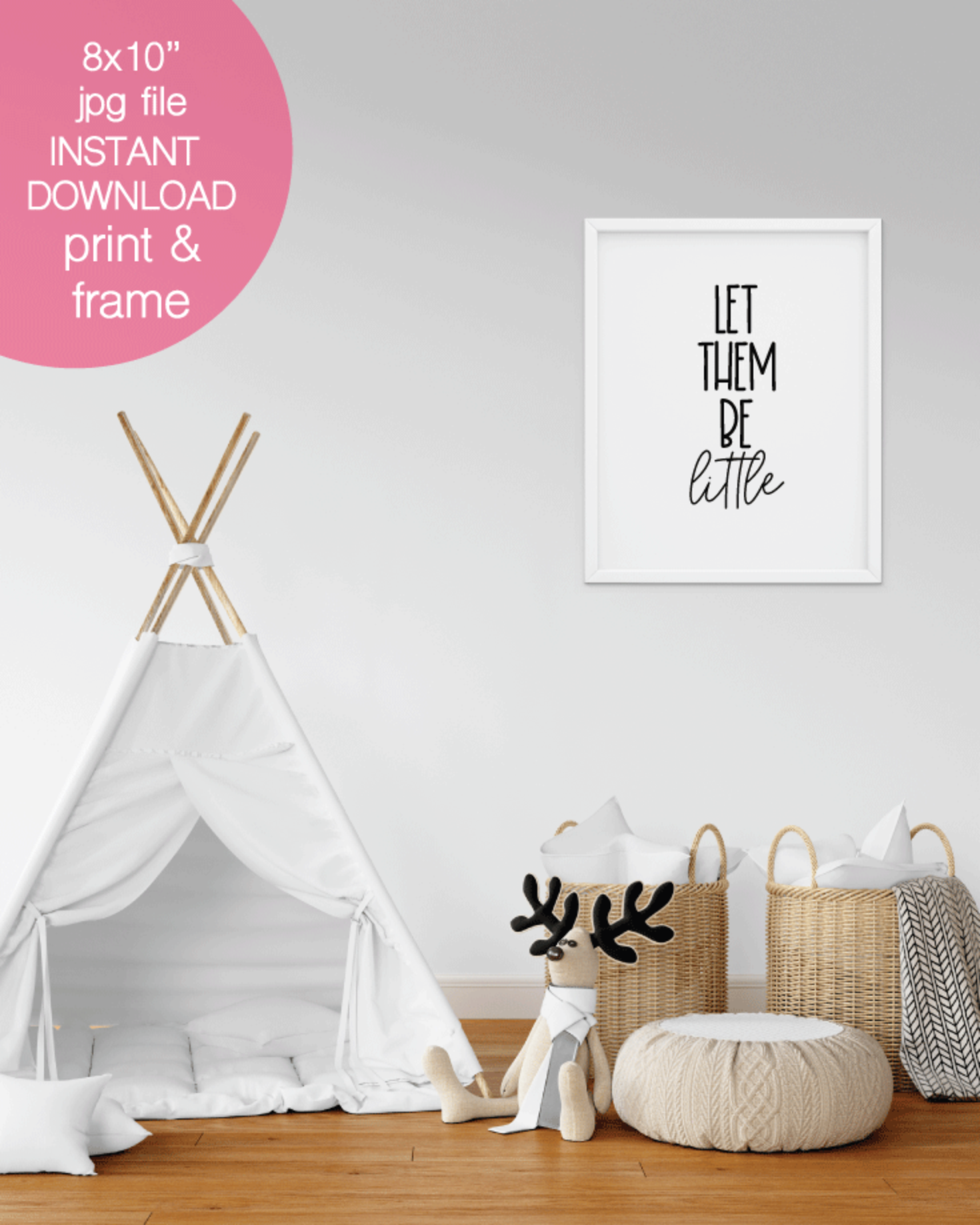 Printable Let Them Be Little Wall Art, Nursery Print - 8x10