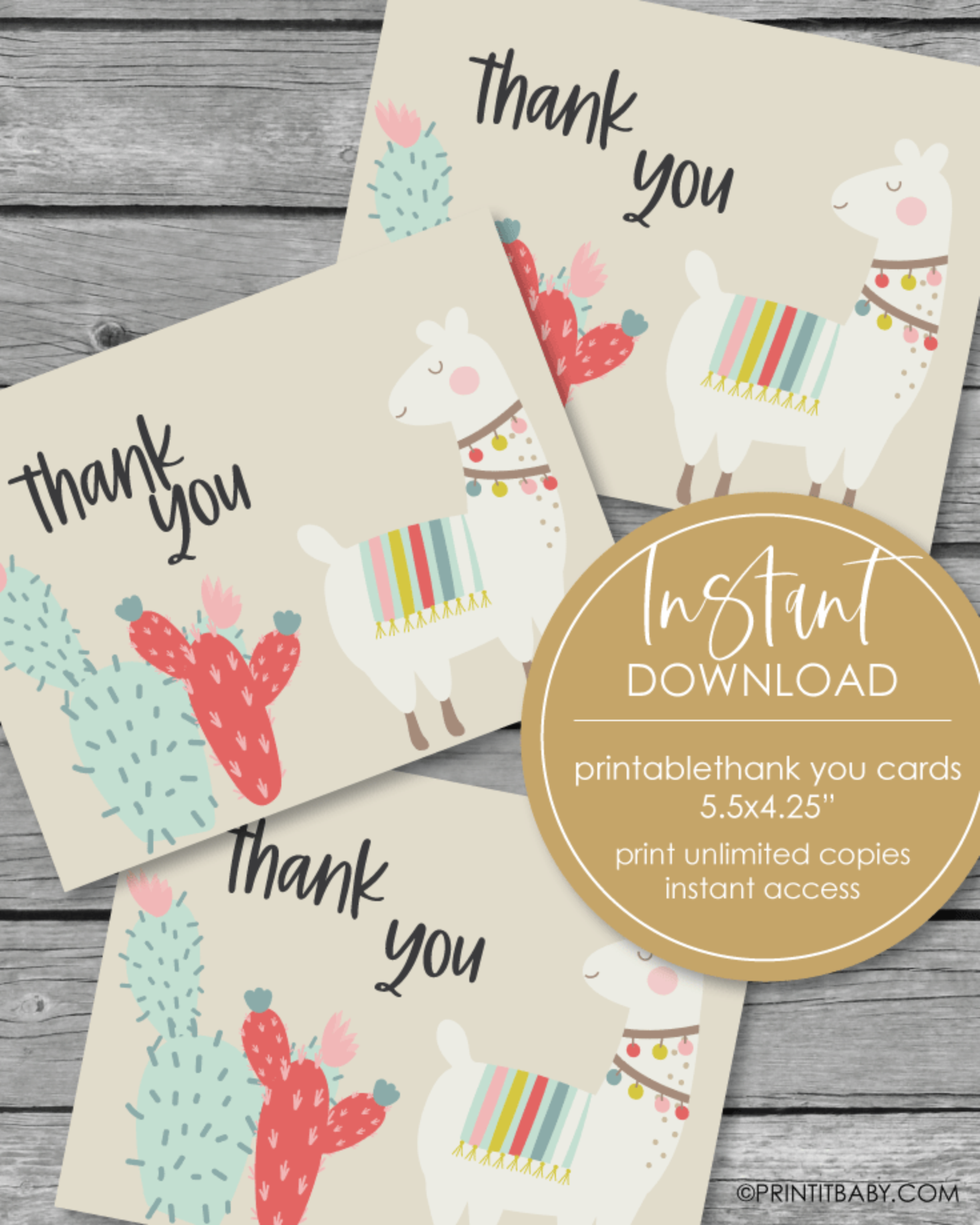 Printable Thank You Card - Boho Llama Theme - 5.5 x 4.25""