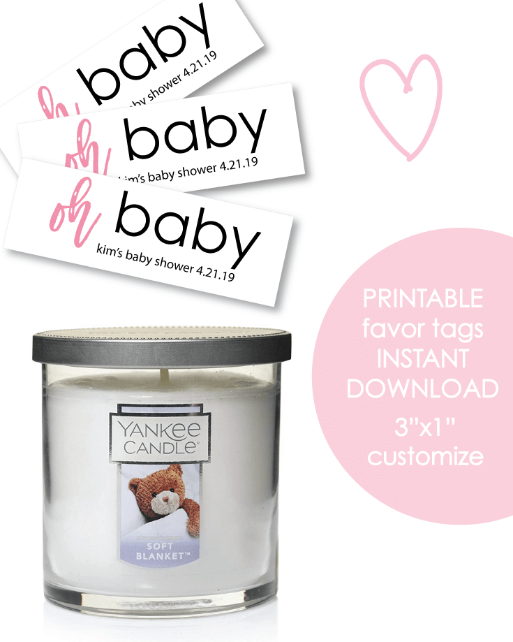 "Printable 3x1"" Oh Baby Pink Baby Shower Favor Tags - Customize"