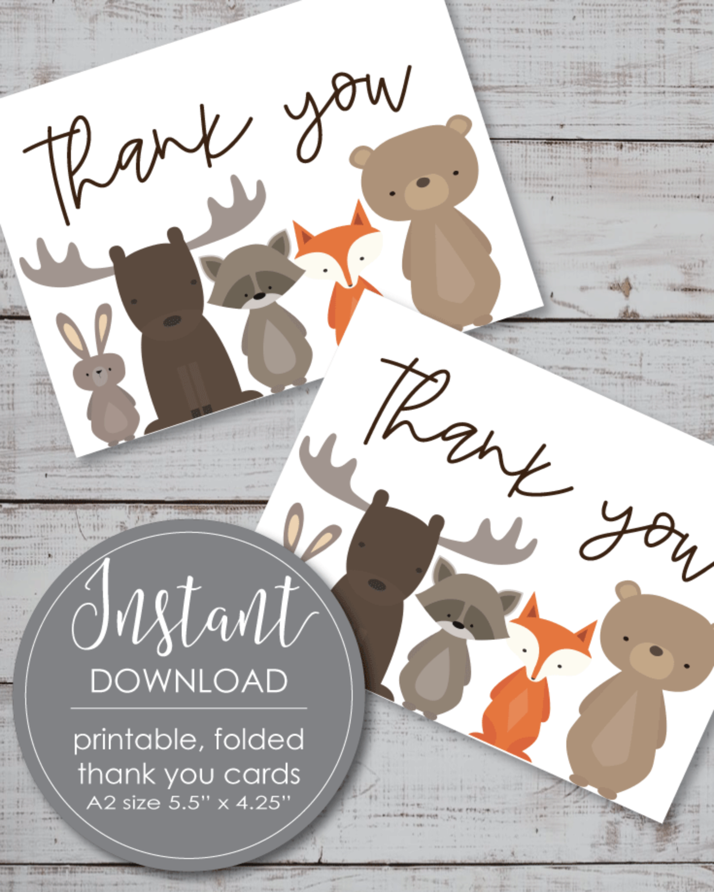 Printable Thank You Card - Woodland Animals Theme - 5.5 x 4.25""