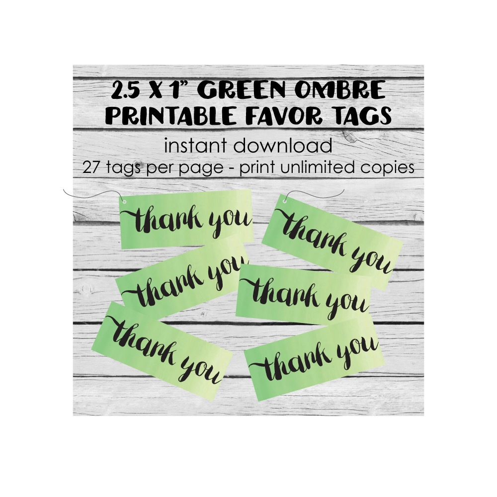 Free Printable Green Ombre Thank You Tags