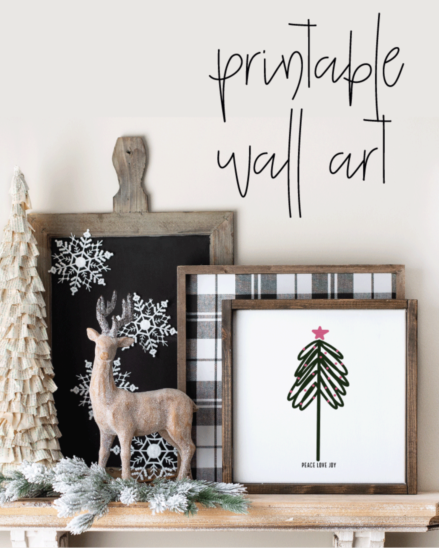 Printable, Peace Love Joy, Holiday Winter Christmas Wall Art Sign Print
