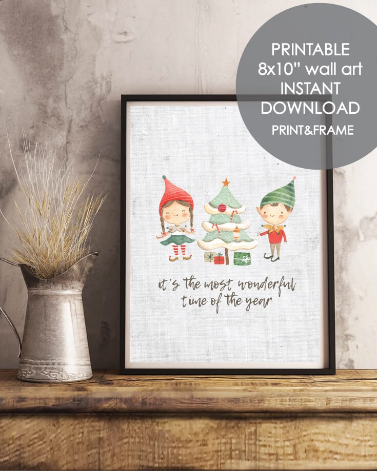 Printable Holiday Elves Wall Art - Christmas, Winter Theme 8x10""