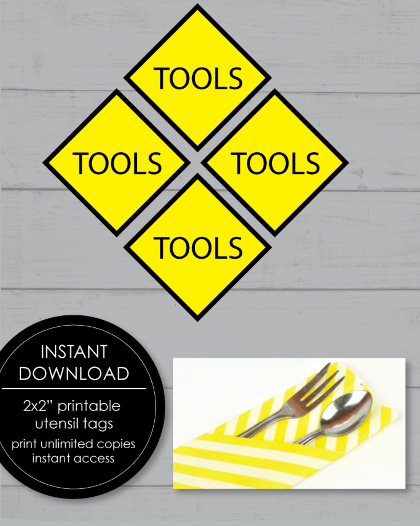 FREE Printable Construction Tools Themed Party Tags - 2x2'
