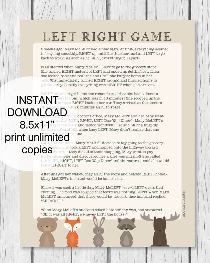 Printable Left Right Baby Shower Game - Woodland Animal Theme