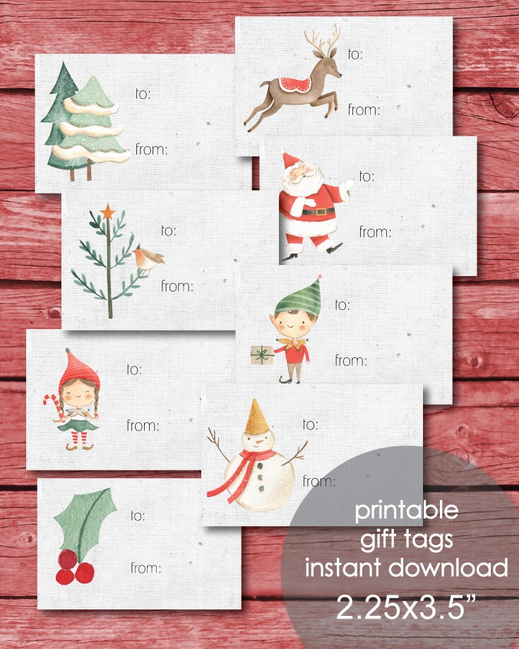 "Printable 2.25x3.5"" Christmas Gift Tags - Holiday Winter Theme"