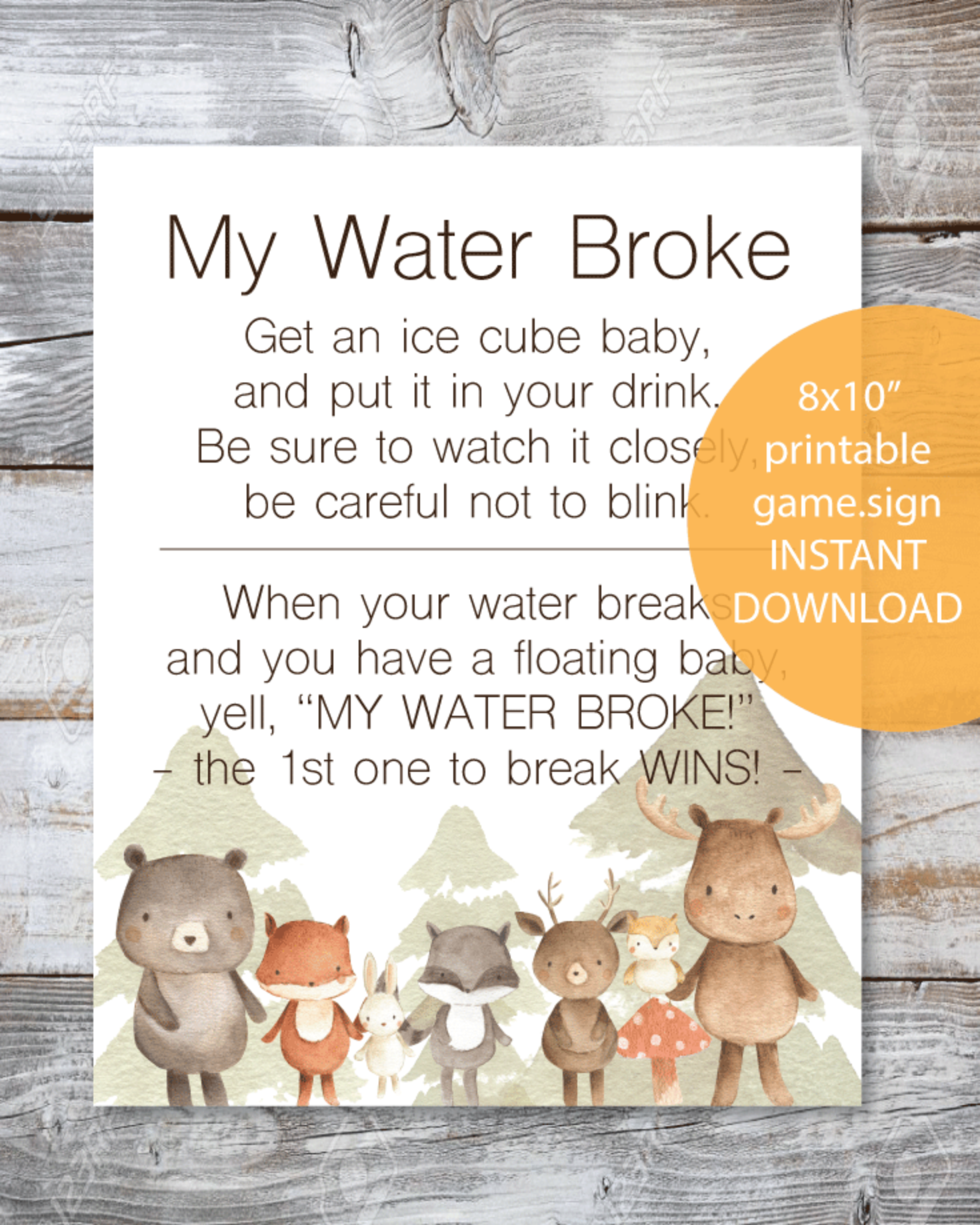 Printable My Water Broke Baby Shower Game - Woodland Watercolor Theme