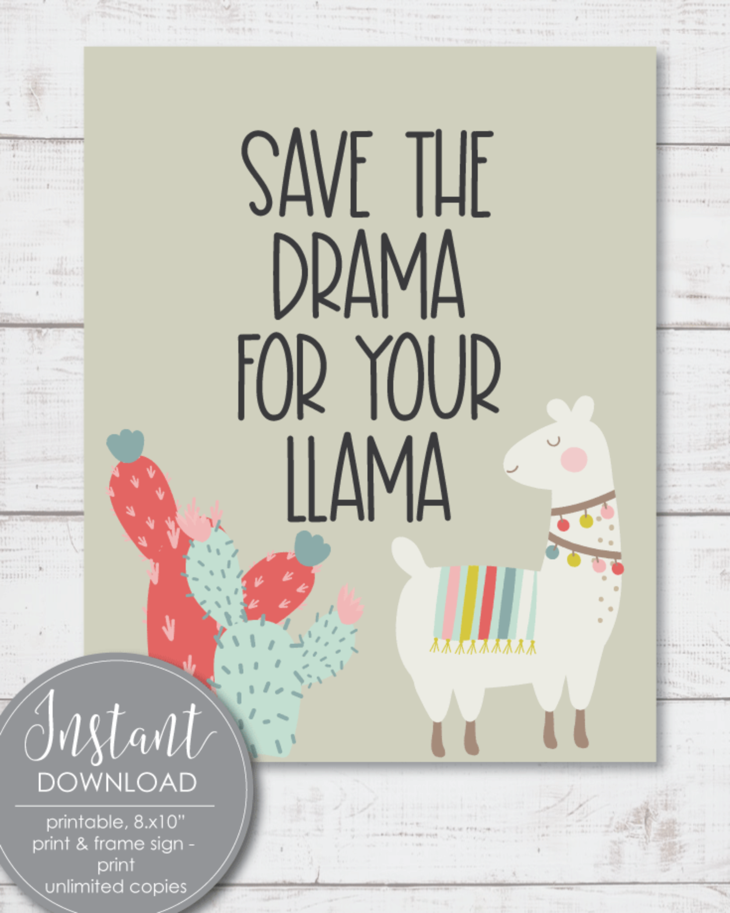 "Printable Boho Llama Cactus Sign - Save The Drama For Your Llama, 8x10"" Wall Art"