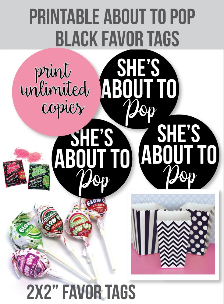 Printable She's About To Pop Favor Tags - Black 2x2