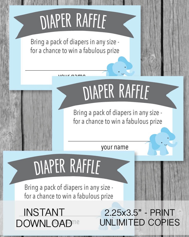 Printable Diaper Raffle Tickets - Blue Elephant Jungle Theme