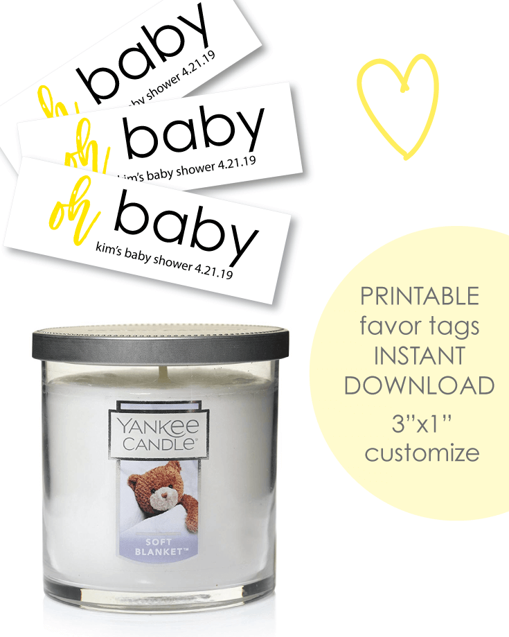 "Printable 3x1"" Oh Baby Yellow Baby Shower Favor Tags - Customize"