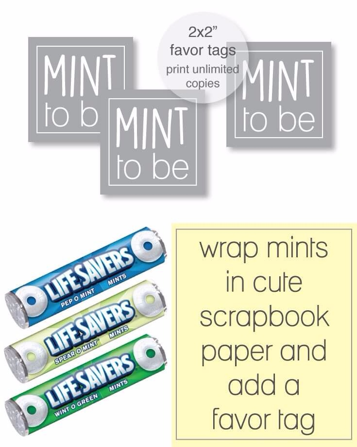 Free Printable Gray Mint To Be Party Favor Tags