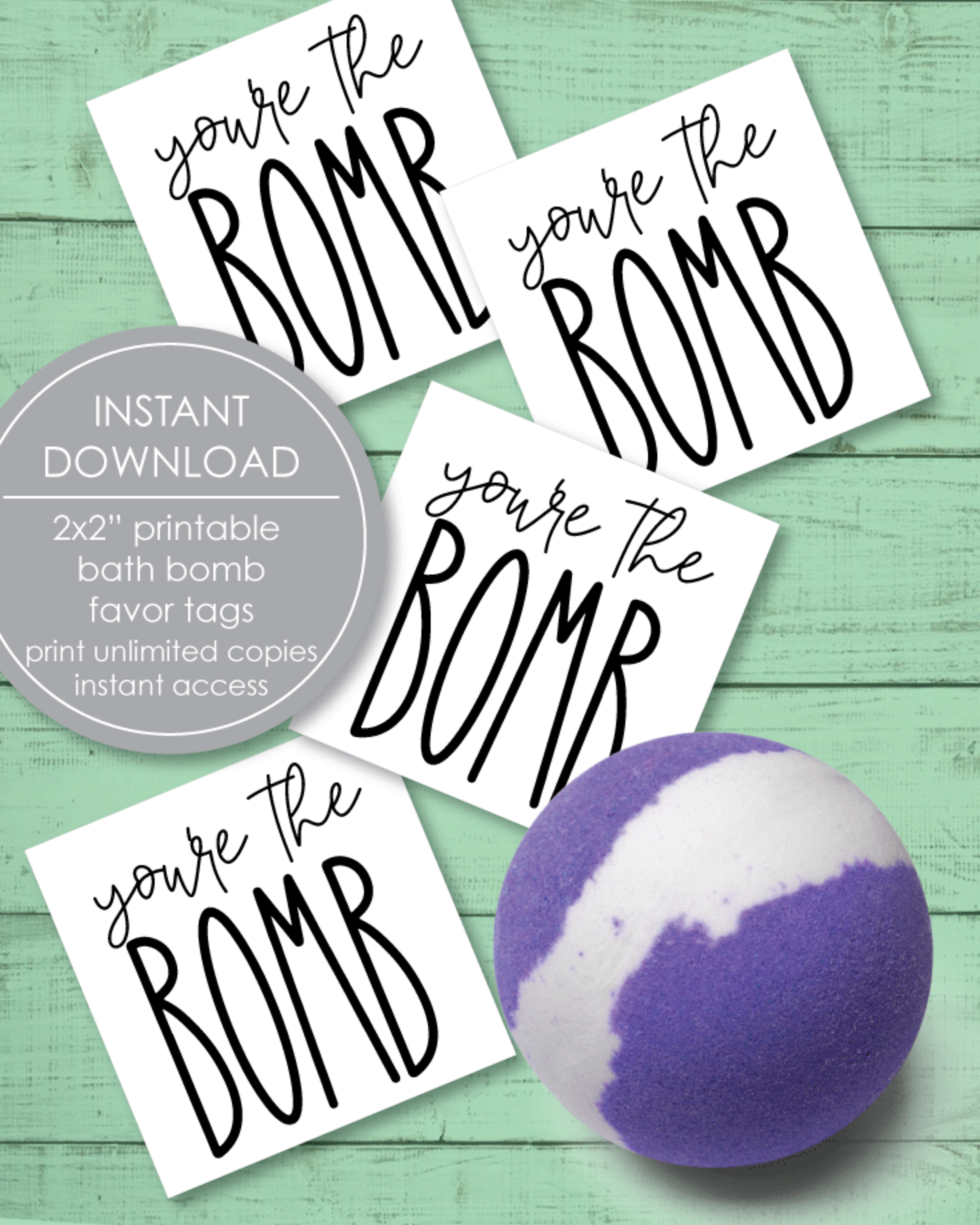 """Printable, You're The Bomb Favor Tags, 2x2"""""""