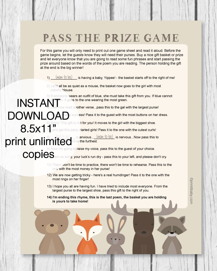 Printable Woodland Animal Pass The Prize Baby Shower Game