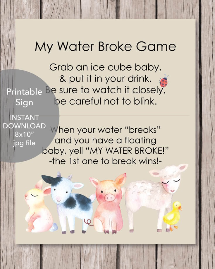 Printable Baby Farm Animals My Water Broke Baby Shower Game