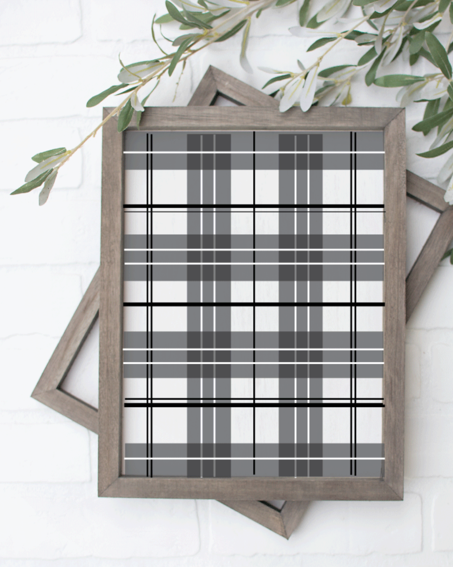 Printable, Black & White Plaid, Holiday Winter Christmas Wall Art Sign Print