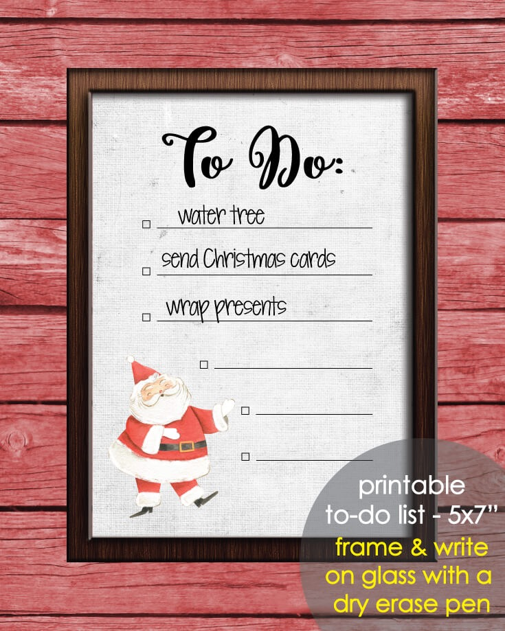 "Printable Santa Claus Daily To-Do List 5x7"" Christmas Holiday, Winter Theme"