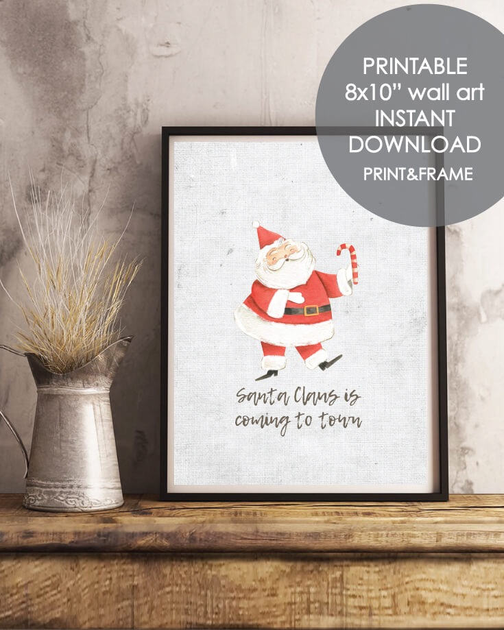 Printable Holiday Santa Wall Art - Christmas, Winter Theme 8x10""