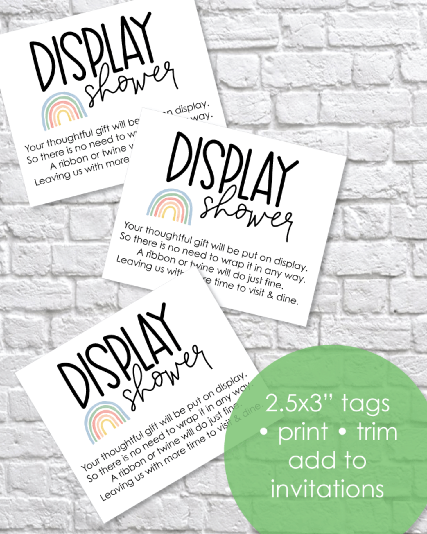 Printable Rainbow Display Baby Shower Cards