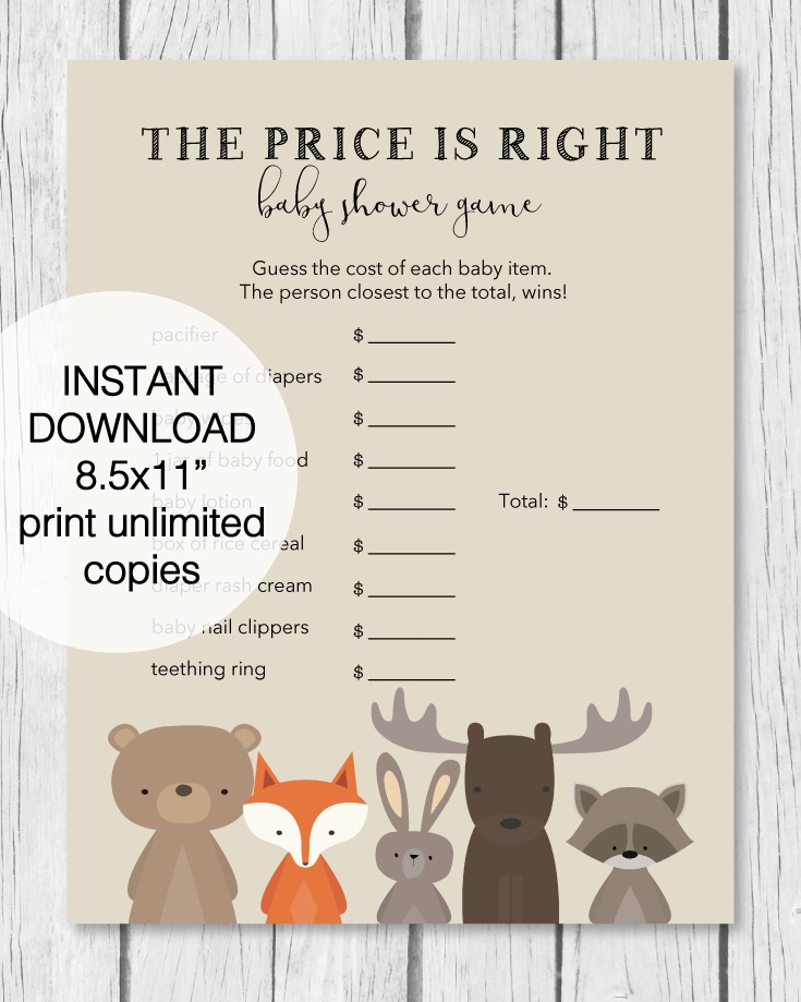 The Price Is Right Baby Shower Game - Woodland Theme