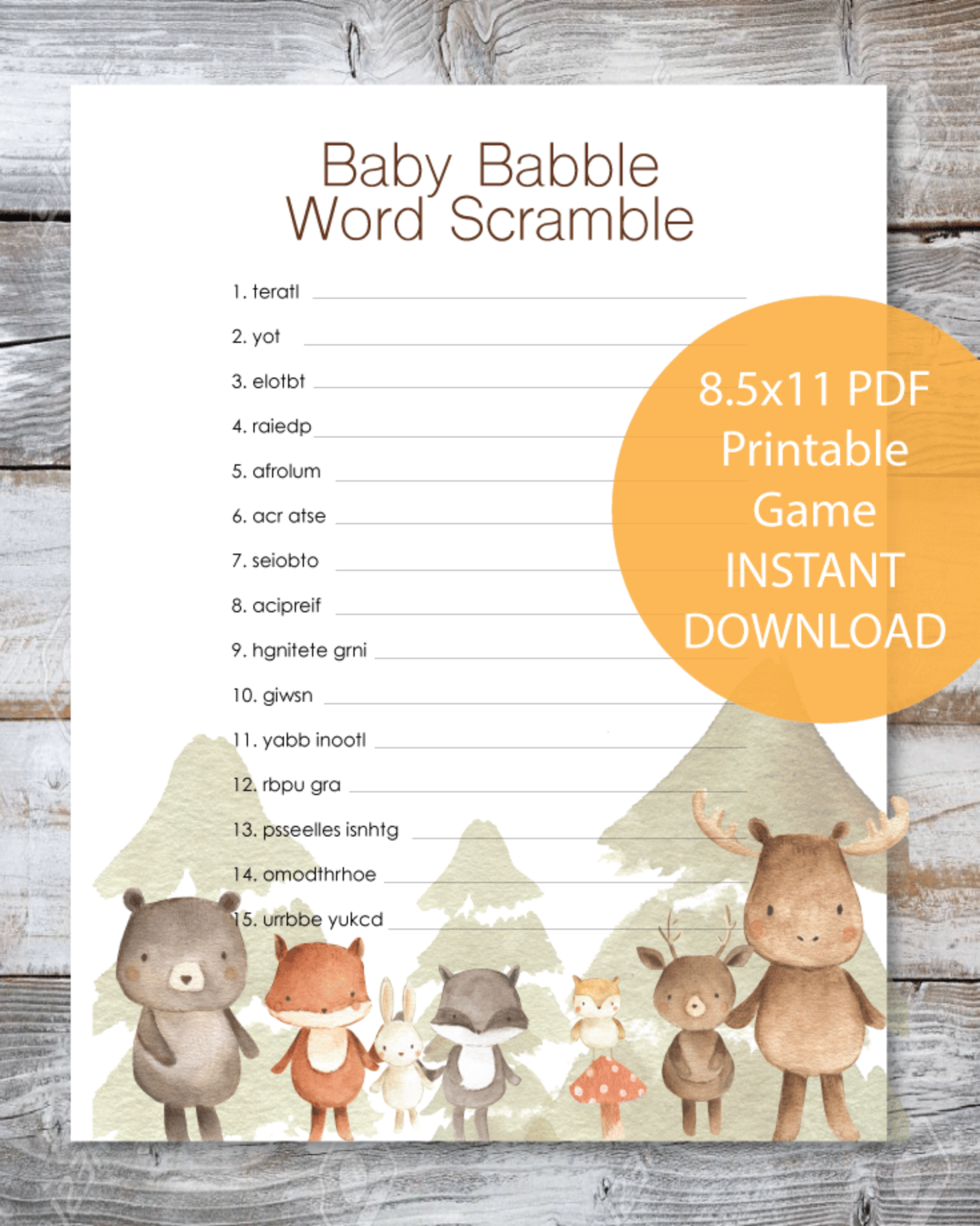 Woodland Watercolor Animals Baby Babble Word Scramble Baby Shower Game