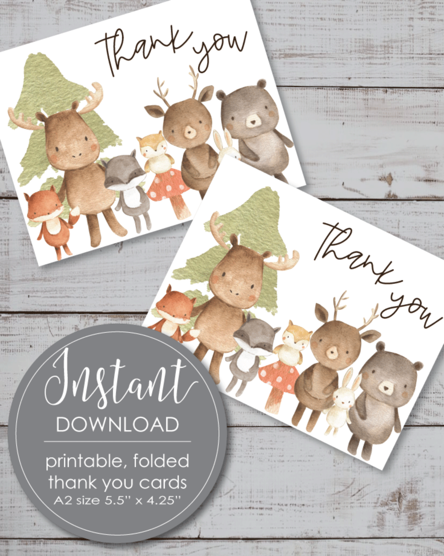 Printable Thank You Card - Woodland Watercolor Theme - 5.5 x 4.25""
