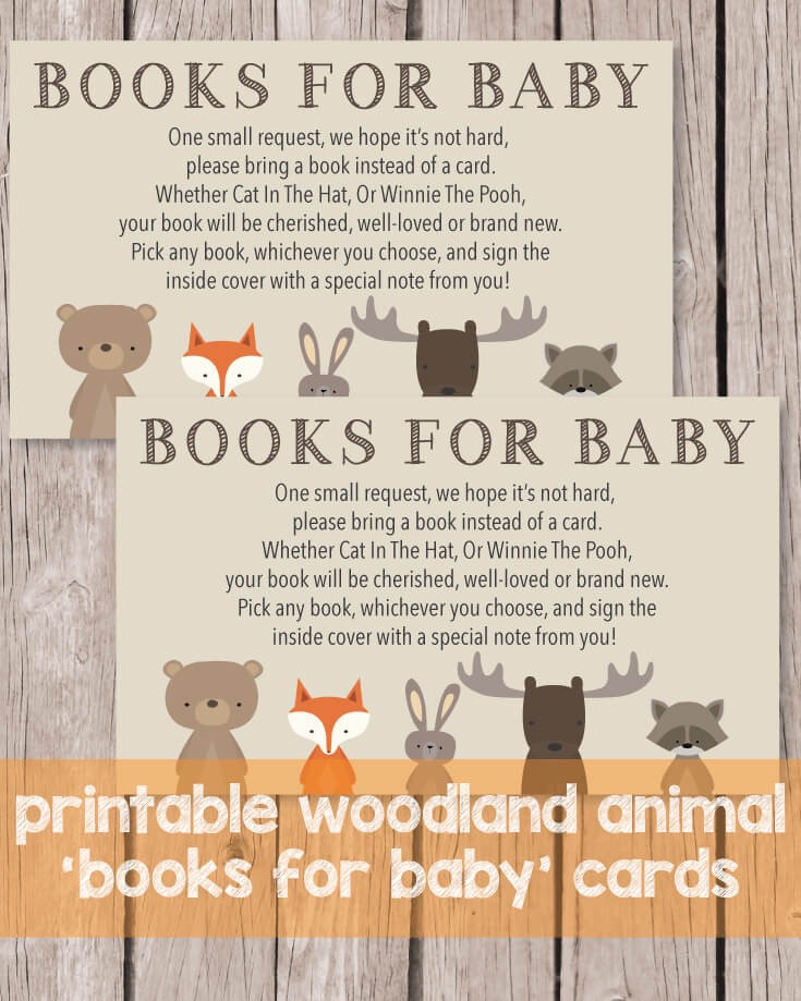Printable Books For Baby Cards - Woodland Animals Theme