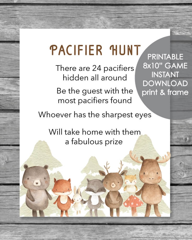 Printable Pacifier Hunt Game Sign - Woodland Animals Watercolor