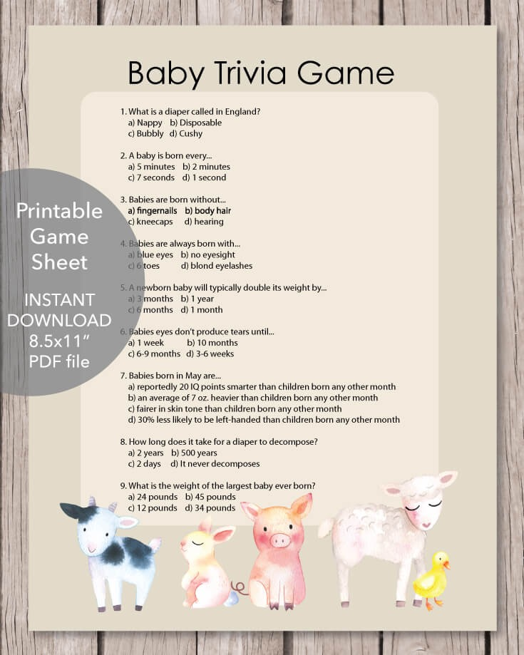 Printable Baby Shower Trivia Game - Baby Farm Animals Theme