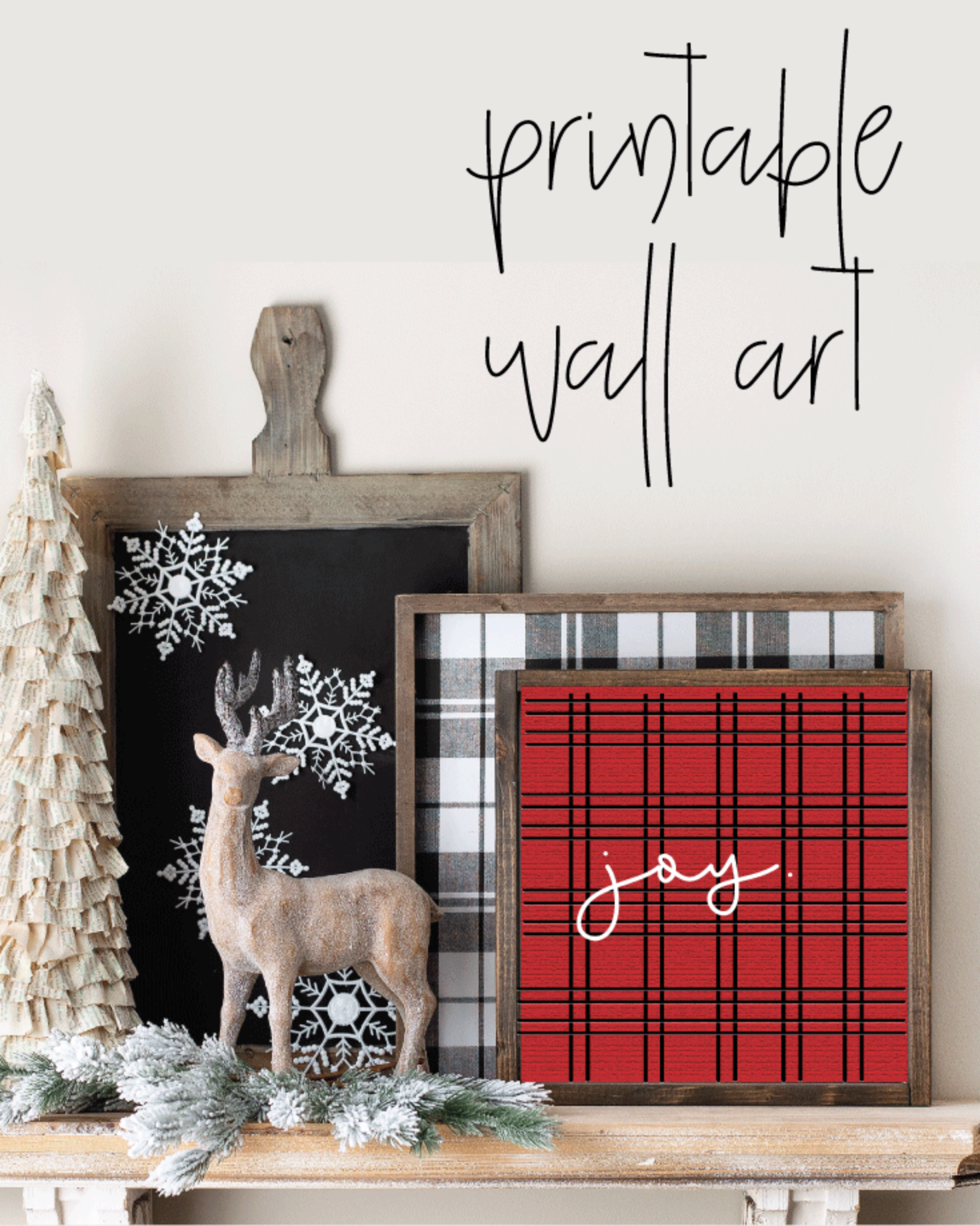Printable, Joy Holiday Winter Christmas Wall Art Sign Print