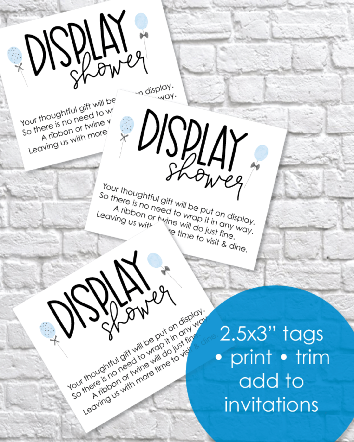 Printable Display Baby Shower Cards - Blue Balloons