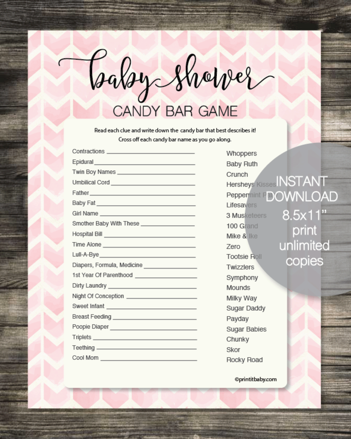 Baby Shower Candy Bar Game - Pink Chevron Watercolor Boho Arrows