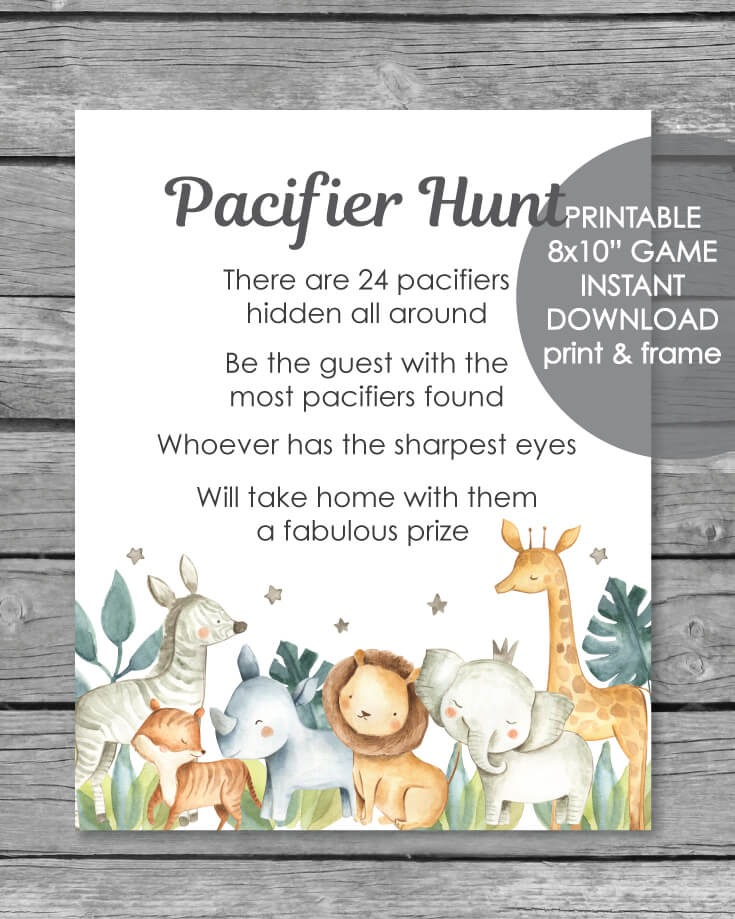 Printable Pacifier Hunt Game Sign - Jungle Safari Animals Watercolor