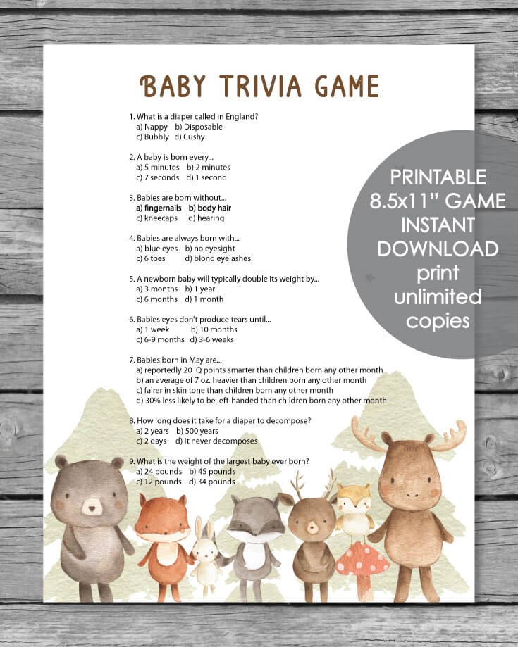 Printable Baby Shower Trivia Game - Woodland Animal Watercolor Theme