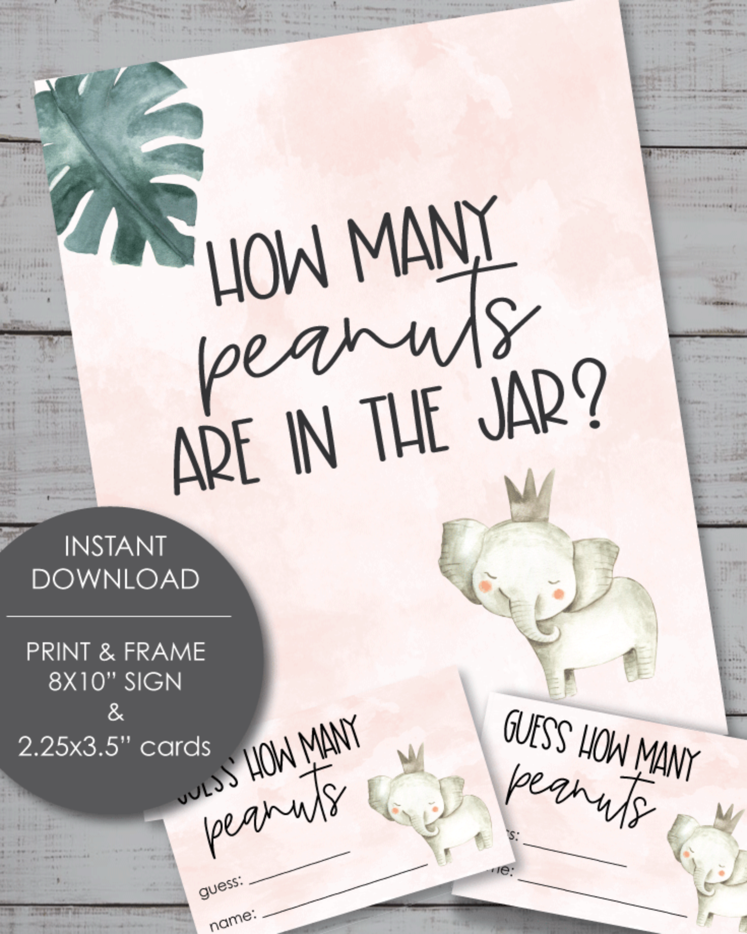 Printable Guess How Many Peanuts Baby Shower Game - Pink Elephant Theme