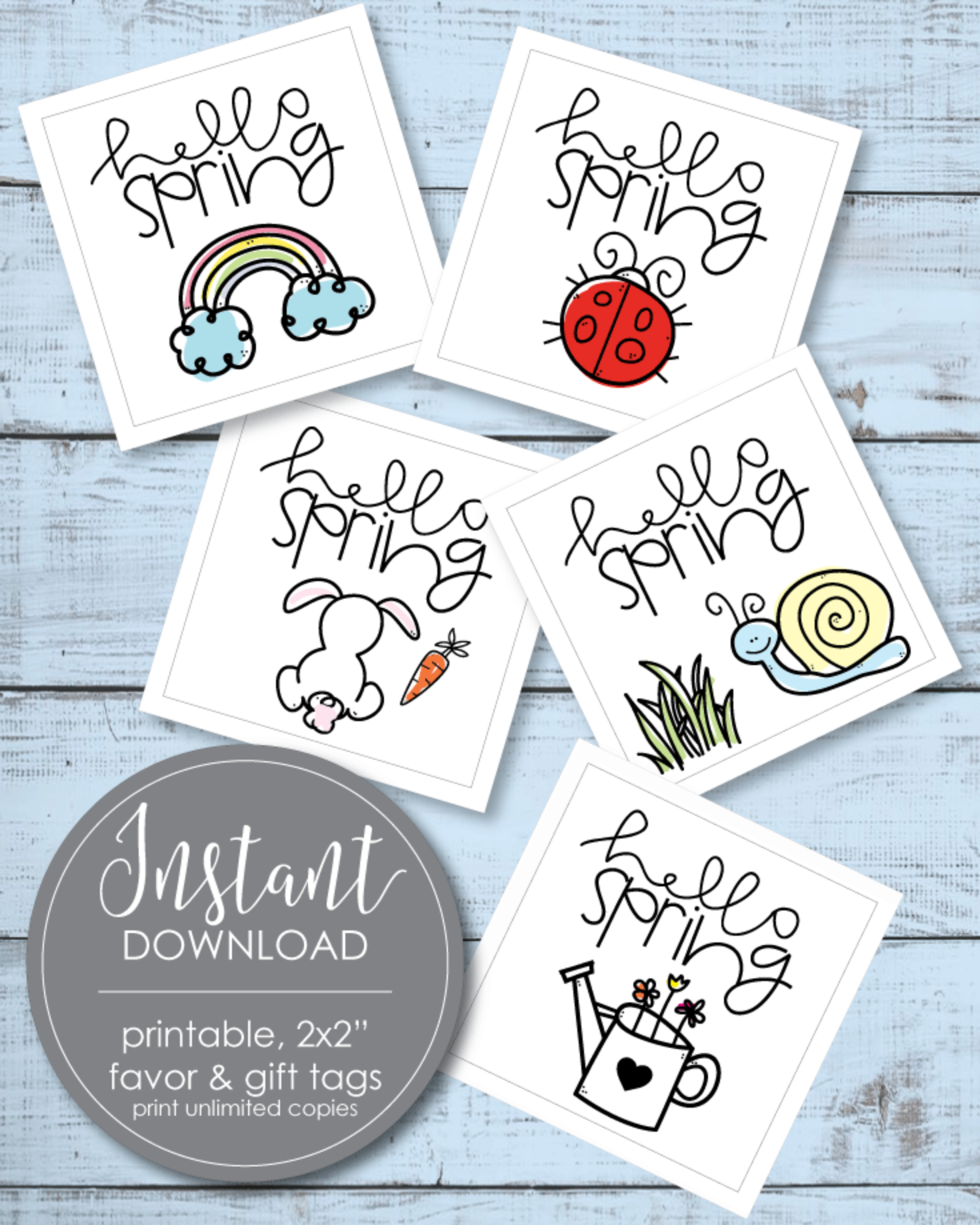 Printable Hello Spring Favor And Gift Tags - 2x2""