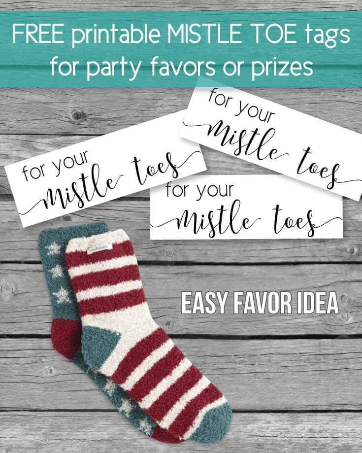 "FREE Printable Mistletoe ""Mistle Toe"" Holiday, Christmas Favor Tags"