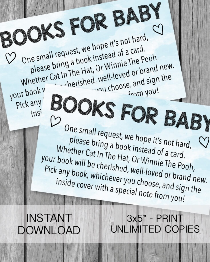 Printable Books For Baby Cards - Blue Watercolor