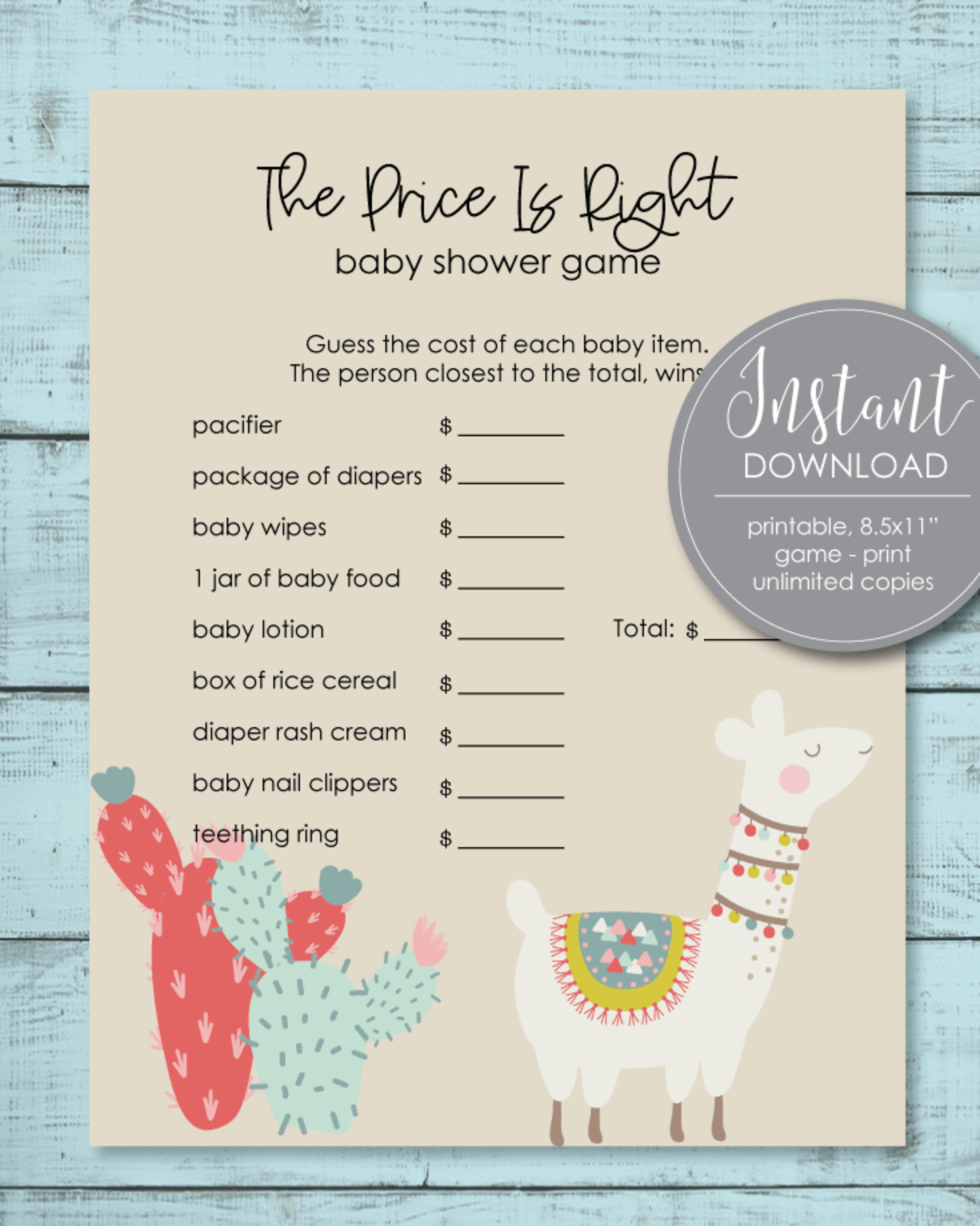 Printable The Price Is Right Baby Shower Game - Llama Cactus Boho Theme