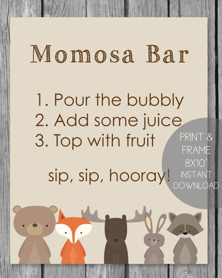 Woodland Animals Printable Momosa Bar Sign - 8x10""